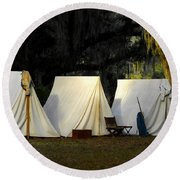 1800s Army Tents Round Beach Towel