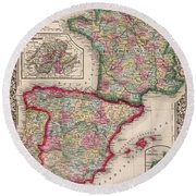 1800s France, Spain And Portugal County Map Color Round Beach Towel
