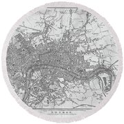 1800s London Map Black And White London England Round Beach Towel