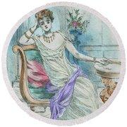 1804 Paris France Fashion Drawing Round Beach Towel