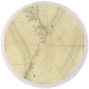 1807 North America Coastline Map Round Beach Towel