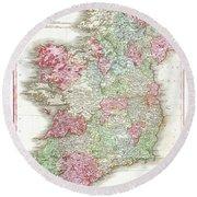 1818 Pinkerton Map Of Ireland Round Beach Towel