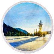Nature Oil Painting Landscape Round Beach Towel