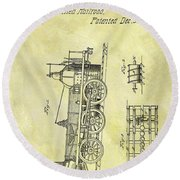 1845 Locomotive Patent Round Beach Towel