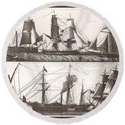 1850 European Sailing Ship Round Beach Towel