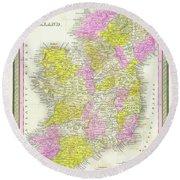 1850 Vintage Map Of Ireland Round Beach Towel