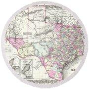 1855 Texas Map Round Beach Towel