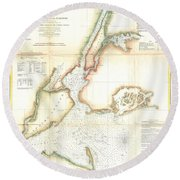 1857 Coast Survey Map Of New York City And Harbor Round Beach Towel