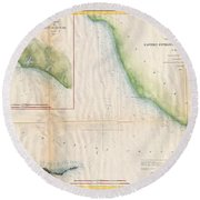 1857  Coast Survey Map Of The Eastern Entrance To Santa Barbara Channel Round Beach Towel