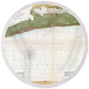 1857 U.s. Coast Survey Map Or Chart Of Mississippi City Harbor, Mississippi Round Beach Towel
