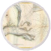 1857 U.s. Coast Survey Map Or Chart Of The Mouth Of St. Johns River, Florida Round Beach Towel