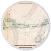 1857 U.s. Coast Survey Triangulation Map Of Matagorda Bay To Galveston Bay, Texas Round Beach Towel