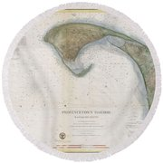 1857 U.s.c.s. Map Of Provincetown Harbor, Cape Cod, Massachusetts Round Beach Towel