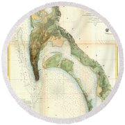 1857 U.s.c.s. Map Of San Diego Bay, California Round Beach Towel