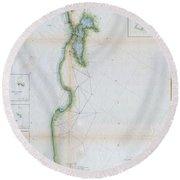 1857 U.s.c.s. Map Of San Francisco Bay Round Beach Towel