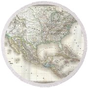 1858 Dufour Map Of The United States  Round Beach Towel
