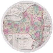 1858 Smith - Disturnell Pocket Map Of New York Round Beach Towel