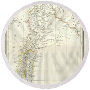 1859 Alabern Map Of Israel, Palestine, Or Holy Land And Syria In Ancient Times Round Beach Towel