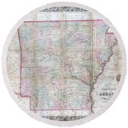1859 Colton Pocket Map Of Arkansas  Round Beach Towel