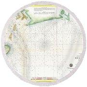 1859 U.s. Coast Survey Map Of Bull's Bay South Carolina Round Beach Towel
