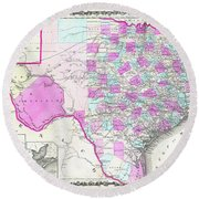 1862 Map Of Texas Round Beach Towel
