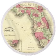 1864 Florida Map Color Round Beach Towel