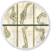 1865 Us Coast Survey Map Of The Mississippi River From Cairo Il To St Marys Mo  Round Beach Towel