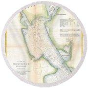 1865 Us Coast Survey Map Or Chart Of Providence Rhode Island Round Beach Towel