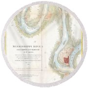 1865 Uscs Map Of The Mississippi River From Cairo Illinois To St Marys Missouri  Round Beach Towel