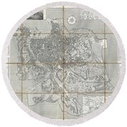 1866 Fornari Pocket Map Or Case Map Of Rome Italy Round Beach Towel
