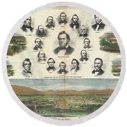 1866 Harpers Weekly View Of Salt Lake City Utah W Brigham Young Mormons Round Beach Towel
