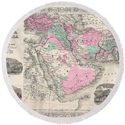1866 Johnson Map Of Arabia Persia Turkey And Afghanistan Iraq Round Beach Towel