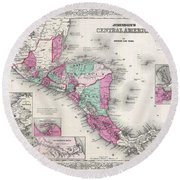 1866 Johnson Map Of Central America Round Beach Towel