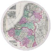 1866 Johnson Map Of Holland And Belgium Round Beach Towel