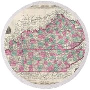 1866 Johnson Map Of Kentucky And Tennessee  Round Beach Towel