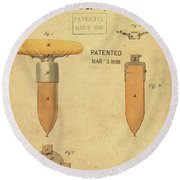 1868 Base For Baseball Players Patent In Sepia Round Beach Towel