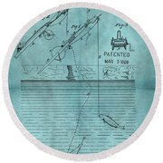 1868 Fishing Tackle Patent Blue Round Beach Towel