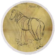 1868 Horse Harness Patent Round Beach Towel