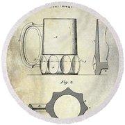 1873 Beer Mug Patent Round Beach Towel