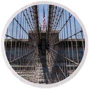 1875 Brooklyn Bridge Tower Color  Round Beach Towel