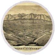 1877 Santa Barbara California Map Round Beach Towel