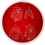 1878 Baseball Catchers Mask Patent - Red Round Beach Towel