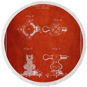 1879 Exercise Machine Patent Spbb08_vr Round Beach Towel
