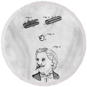 1879 Mustache Guard Patent Round Beach Towel