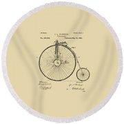 1881 Velocipede Bicycle Patent Artwork - Vintage Round Beach Towel