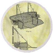1882 Fishing Net Patent Round Beach Towel