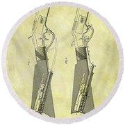 1884 Rifle Stock Patent Round Beach Towel