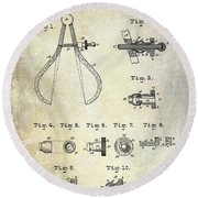 1886 Caliper And Dividers Patent Round Beach Towel