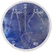1886 Calipers Patent Blue Round Beach Towel
