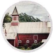 1886 Red Barn Round Beach Towel by Lisa Russo